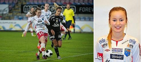 Till vänster är Ebba Hed på språng mot Böljan. Till höger: Fannie Wagnemark.