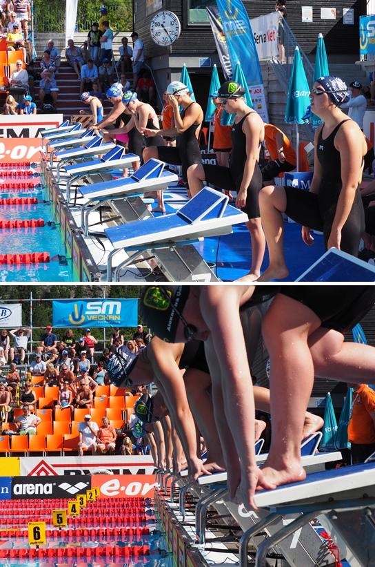 Start på försökens 400m medley damer - juniorer.