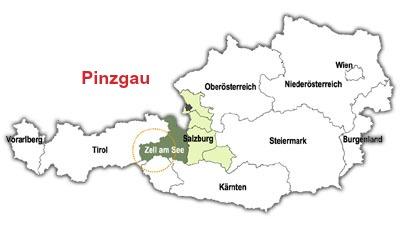 Regionen Pinzgau ligger sydväst om staden Salzburg.