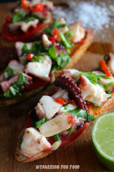 Octopus Salad on Toasted Baguette