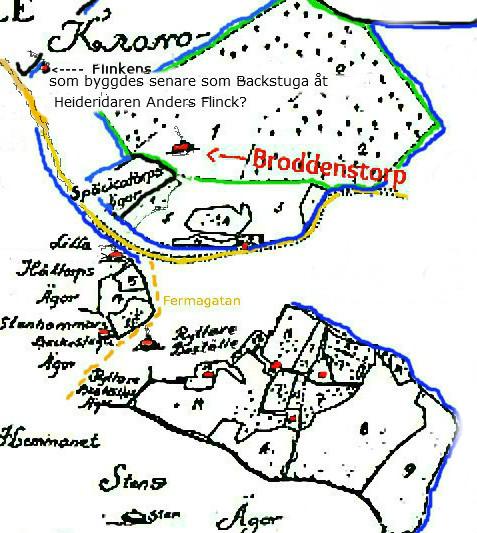 Karta framtagen av Nils Lann och presenterad i Varnhemsbygden.
