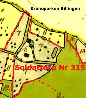 Karta 1764 Lantmäteriet Historiska Kartor. Nr 315's marker mar- kerade med rött. Texter påskrivna av KF, 2014. Glöm inte att klicka på kartorna för att se dem större!