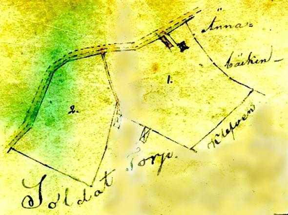 Hagen karta 1857 - fotad från glasad tavla, Hagen 2016 - redigerad
