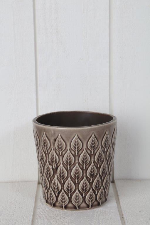 kruka-glaserad kruka-bladmönster-brun kruka