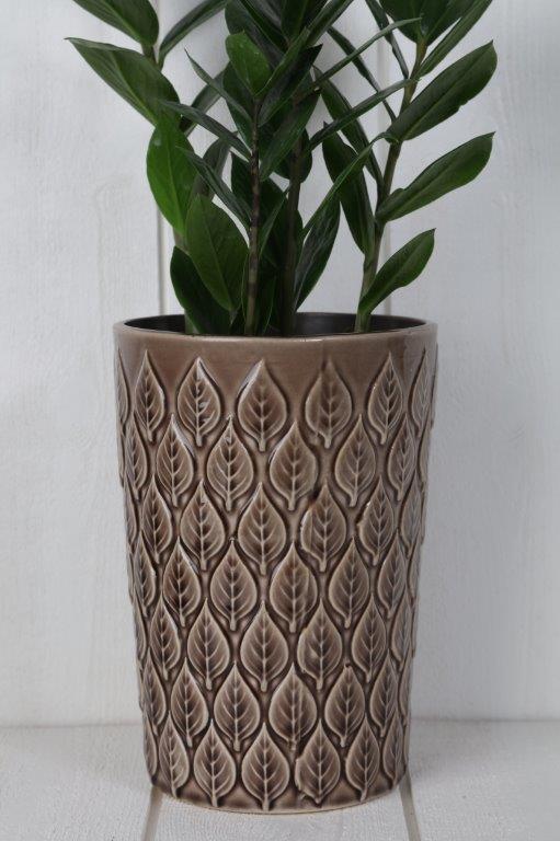 vas-glaserad vas med bladmönster-brun vas
