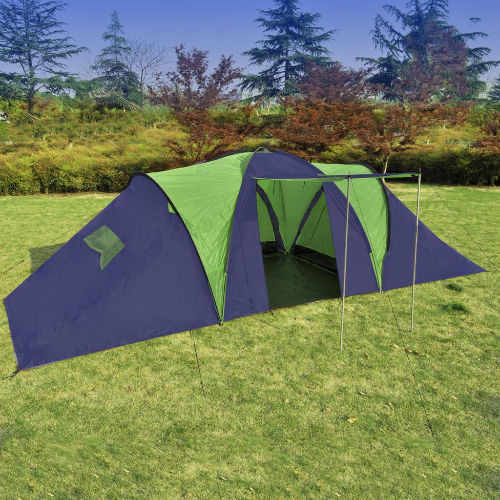 Campingtält för 9 personer blå, grönt polyester