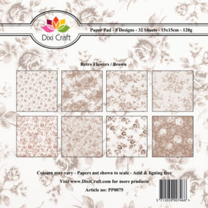 Dixi Craft Pappersblock - Retro Flowers/Brown - Dixi Craft Pappersblock - Retro Flowers/Brown