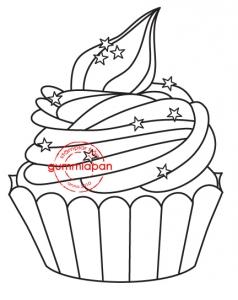 Gummiapan Stämpel - Liten Cupcake - Gummiapan Stämpel - Liten Cupcake