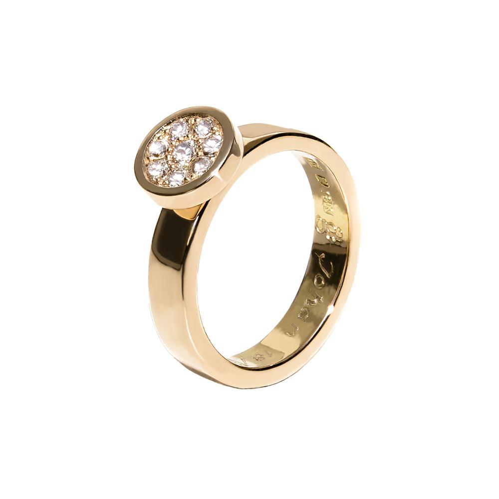 förlovningsring eller vigselring i rödguld med en trädgård av diamanter