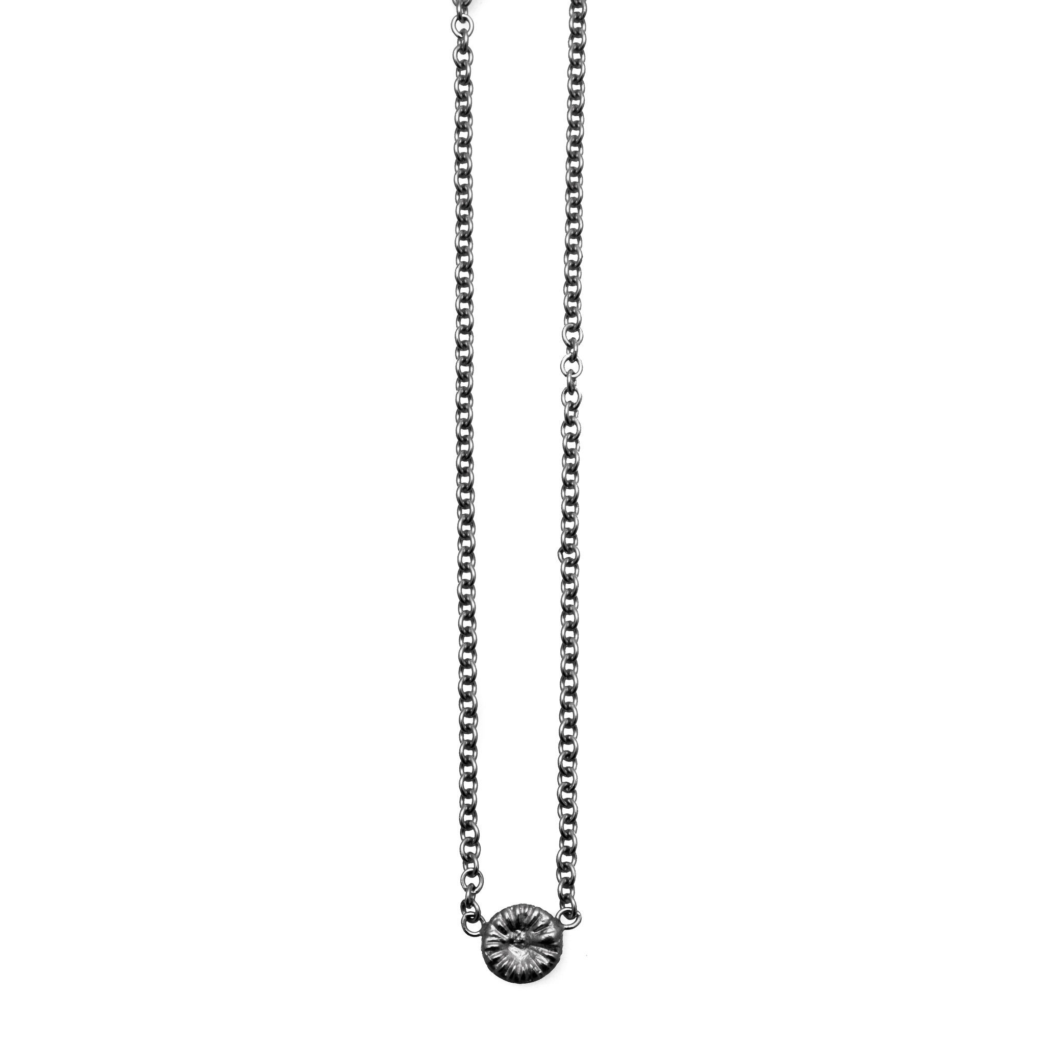 Fossil halsband oxiderat silver, medium