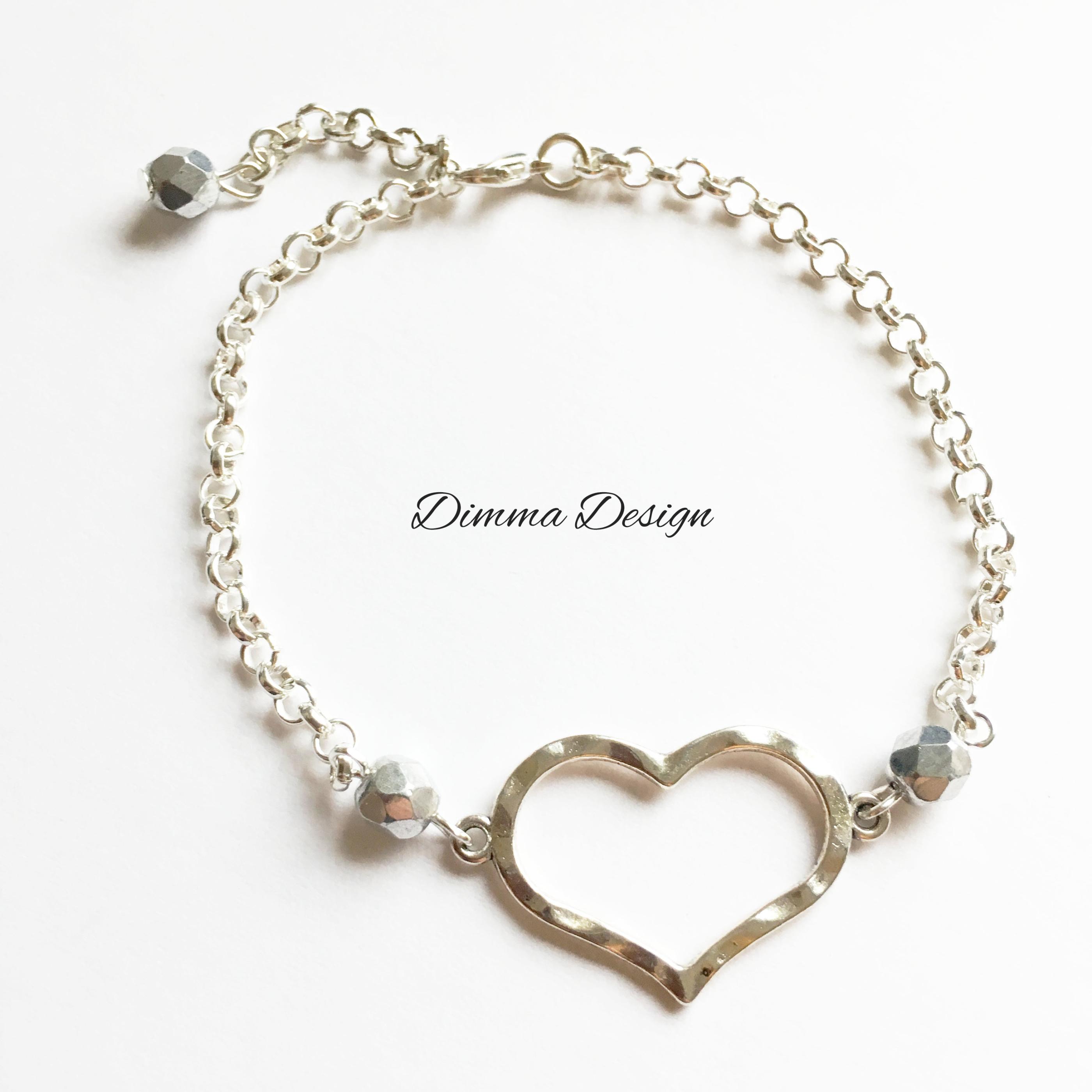 Armband kedja och hjärta silvergrå