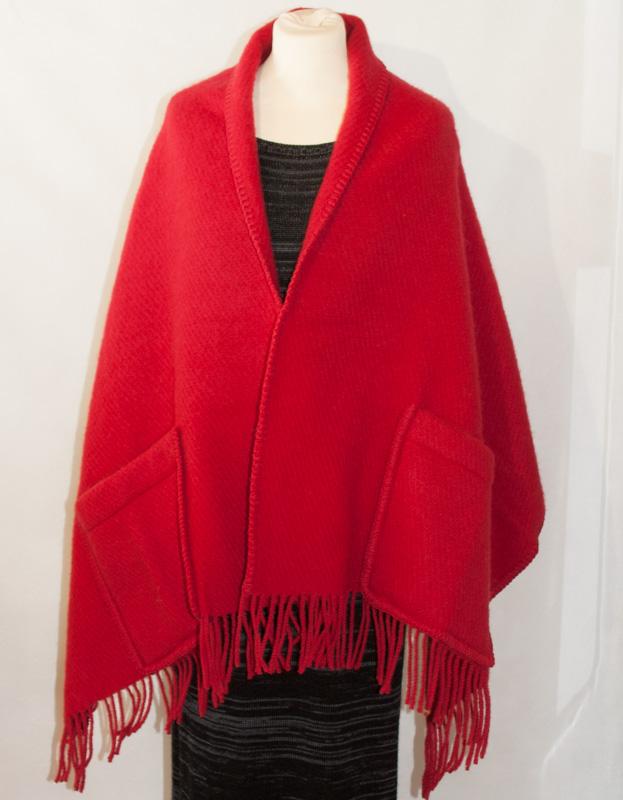 sjal i ull röd