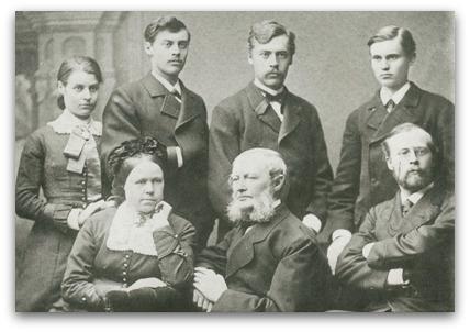 John Adam Moll (1805-1895) med sin familj ca. 1880
