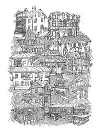 Jag-hjärta-Trosa handduk - Handduk med Trosa byggnader