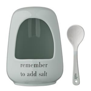 Saltkar med sked -