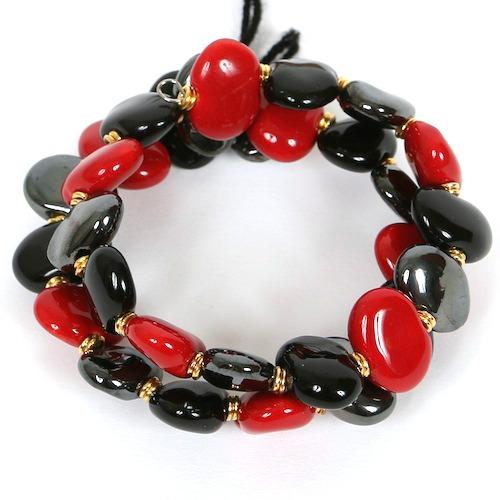 Bracelets Flat - Bright red:Black:Pewter