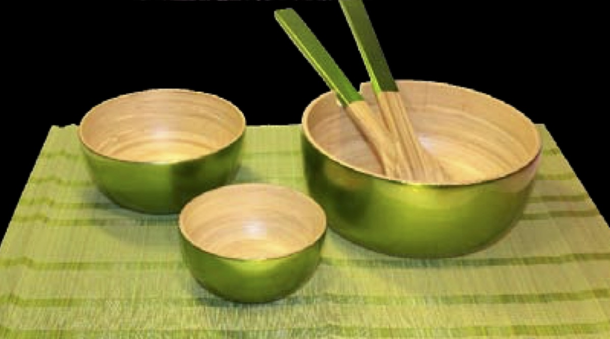 Bambuskålar grön