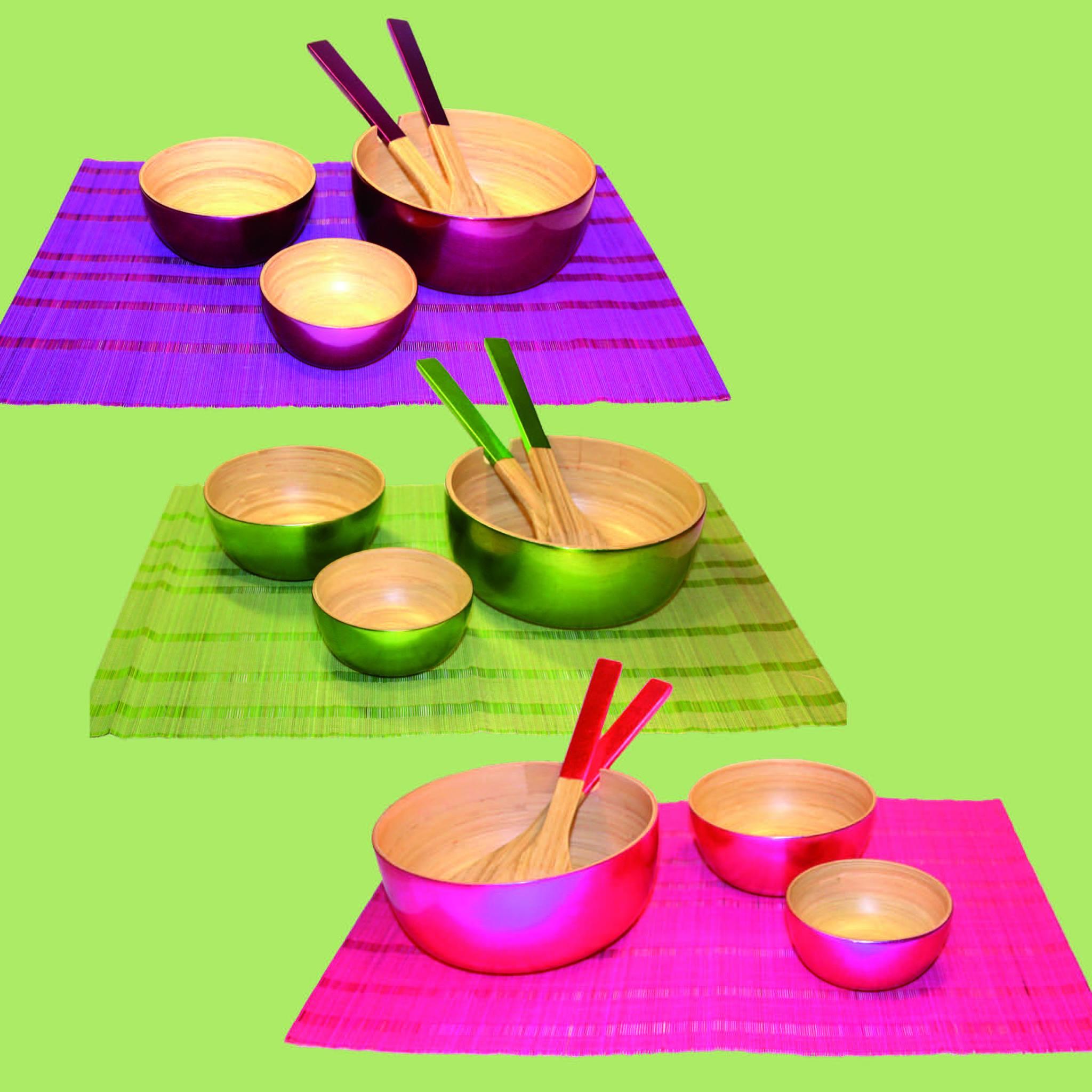 Bambuskålar lila, grön, rosa
