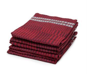 Handduk Domino röd-svart