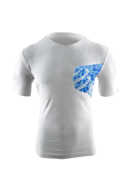 Casual Postural Tshirt - White_Hibiscus - Front
