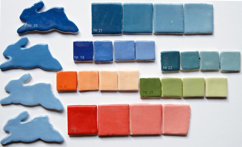 deco-basic 21 - prover. Deco potterycolour är mycket färgstark och kan blandas med vitt för ljusare nyanser.