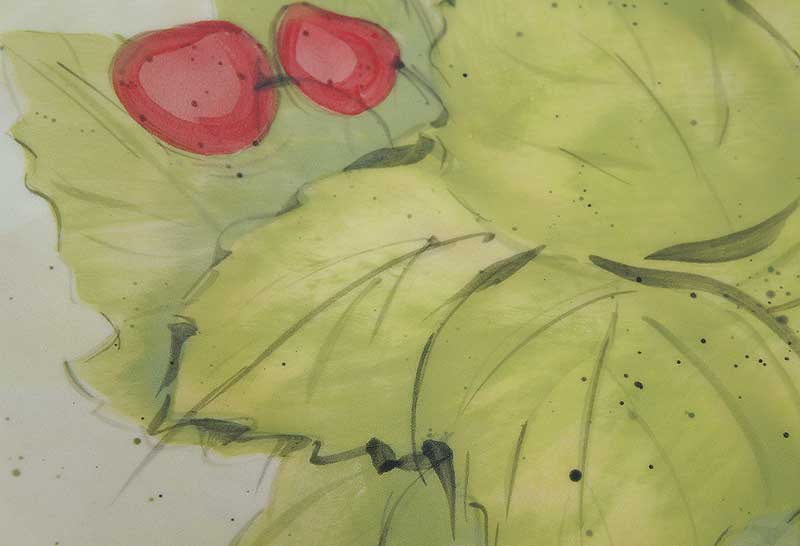 deco-basic 30 - fat. Bladen på bilden gjorda med papper schablon och pensel.