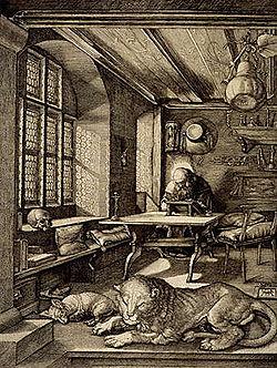 Översättarnas skyddshelgon är kyrkofadern och bibelöversättaren Hieronymus. Här i sin kammare. Av Albrecht Dürer (1514).