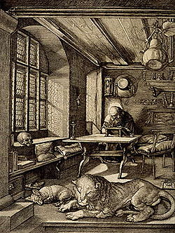 The translator's saint patron is the church father and Bible translator Jerome, shown here in his study. By Albrecht Dürer (1514).