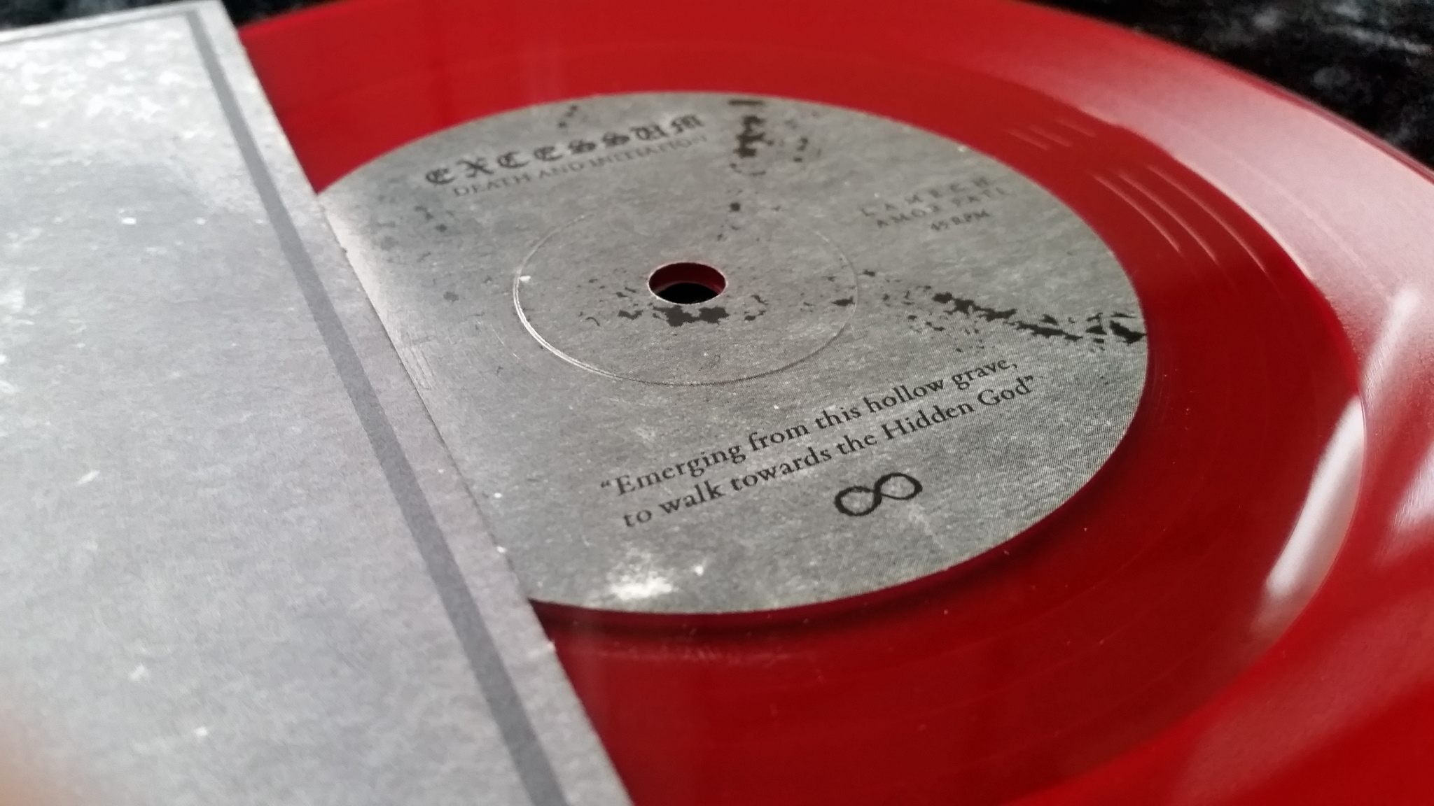 close up red vinyl