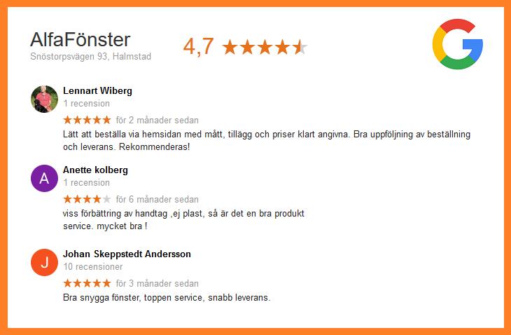 AlfaFönsters recensioner på Google. Klicka på bilden för att se alla omdömen.