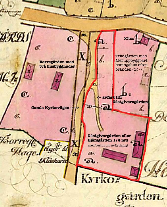 Storbrand detaljkarta - med den då förlagda Gästgivaregården markerad med rött- nu beslut om Laga flytt till Piskapung (betydelse - se överst på sidan!!