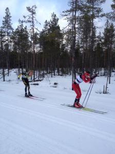 Markus Jönsson före mig och Oskar Svärd (skidspetsarna syns) i Risbergsbacken. Vi tre åkte mycket ihop första halvan av loppet. Foto: Tobias Eriksson.