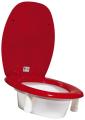 Toalettstolsförhöjning röd förstärkt fäste 4 höjder - Toalettstolsförhöjning röd 5 cm
