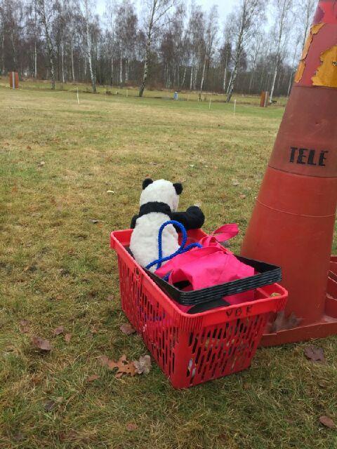 Hejarklacken, utanför plan :-) Samma panda som hjälpte oss lösa platsliggningen fick nu rycka in till vittringen :-) Eftersom pandan har en egen röst, får jag Pingu i en särskild buskänsla som gör att hon glömmer det jobbiga. Knäppa problem kräver knäppa lösningar. Det är ju inte mindre logiskt att en panda kan prata, än att en BPH-figurant äter upp oss! :-)