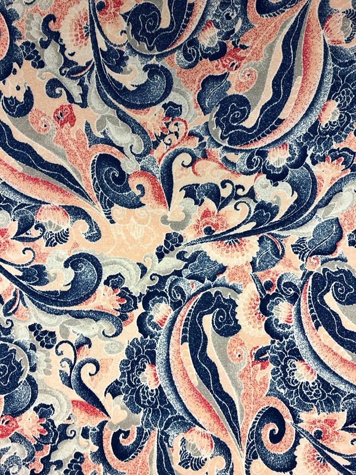 paisley viskos trikå metervara blå rosa