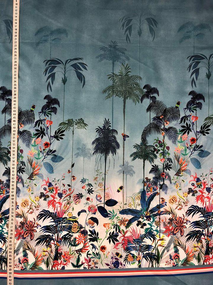 tropisk kväll bomull tyg metervara tropik blå