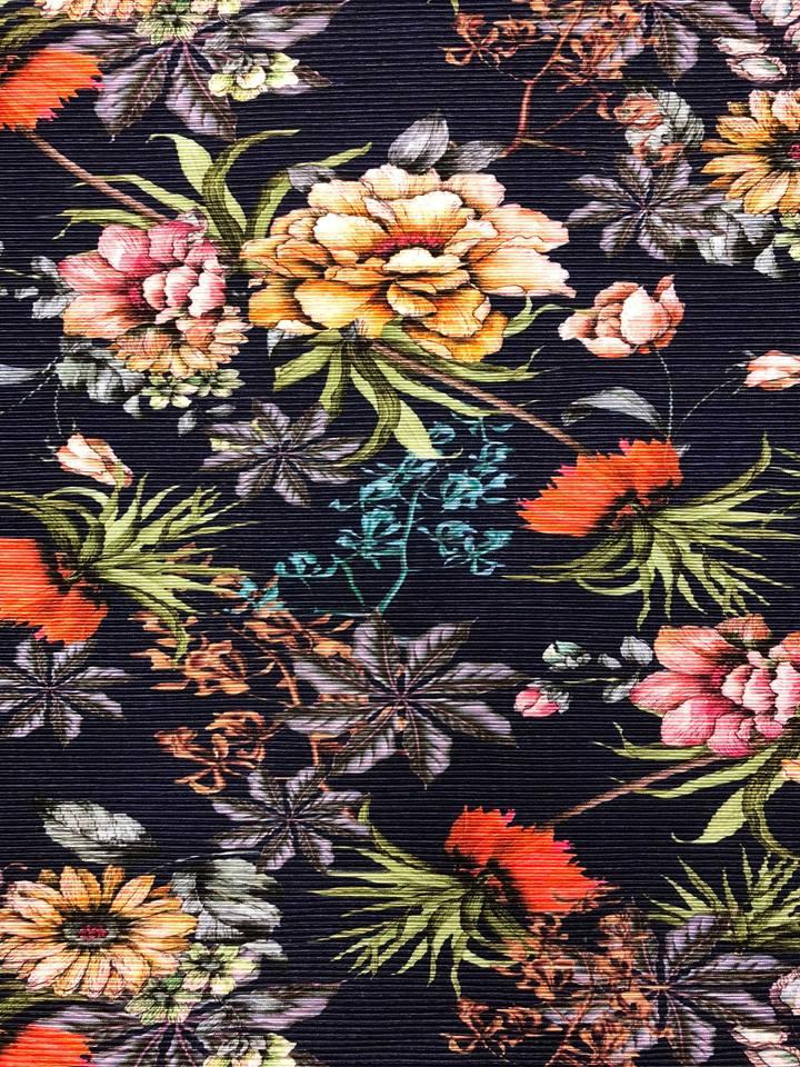 Vildblomma plisserat tyg metervara marinblå blommor