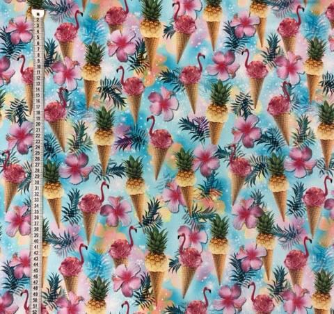 trikåtyg metervara ananas glass flamingo rosa turkos