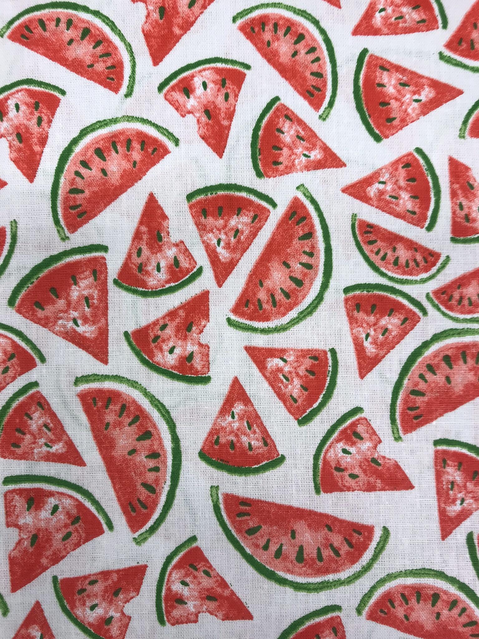bomullstyg tyg metervara melon sommar