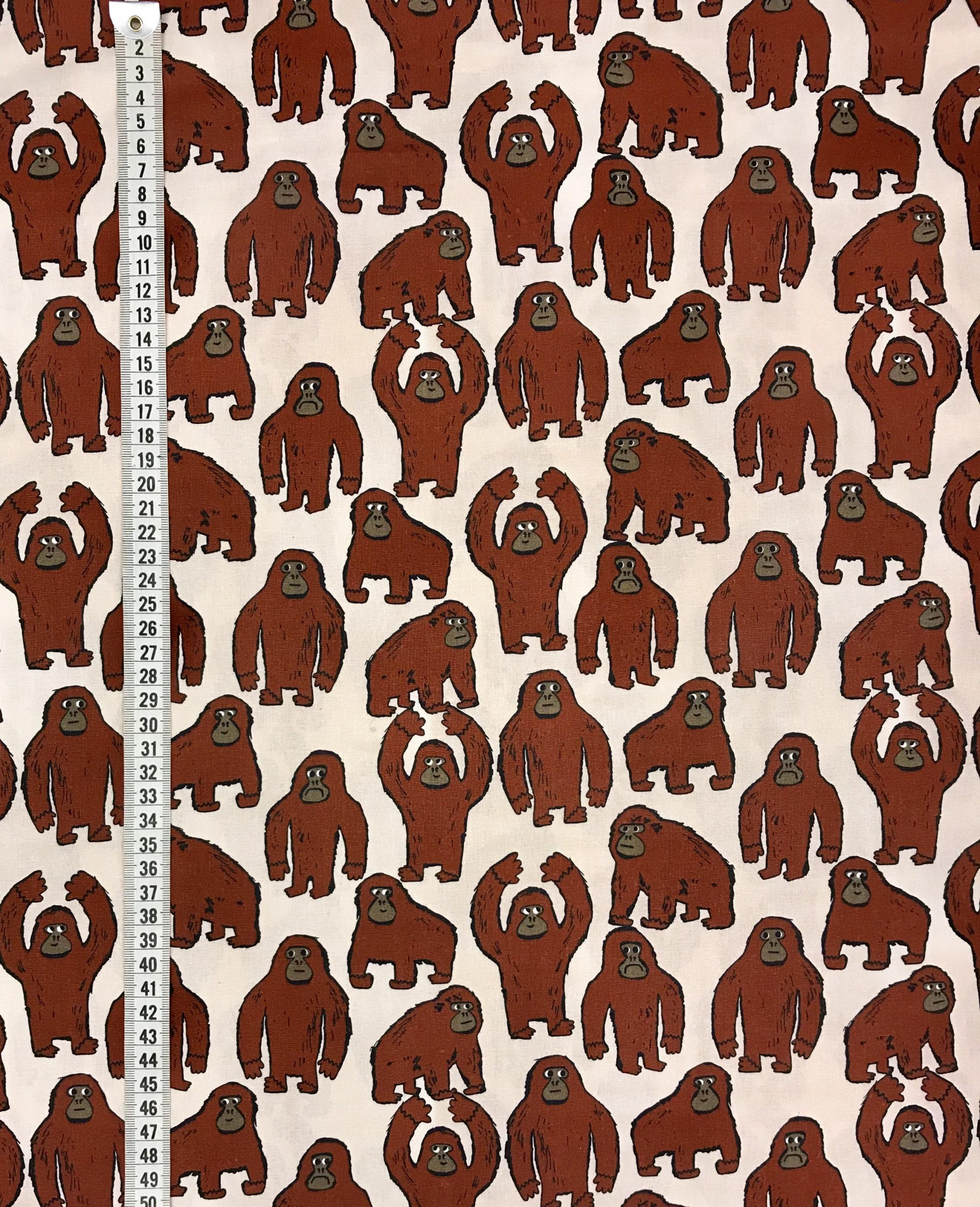 lilla gorillan metervara bomull tyg apa brun