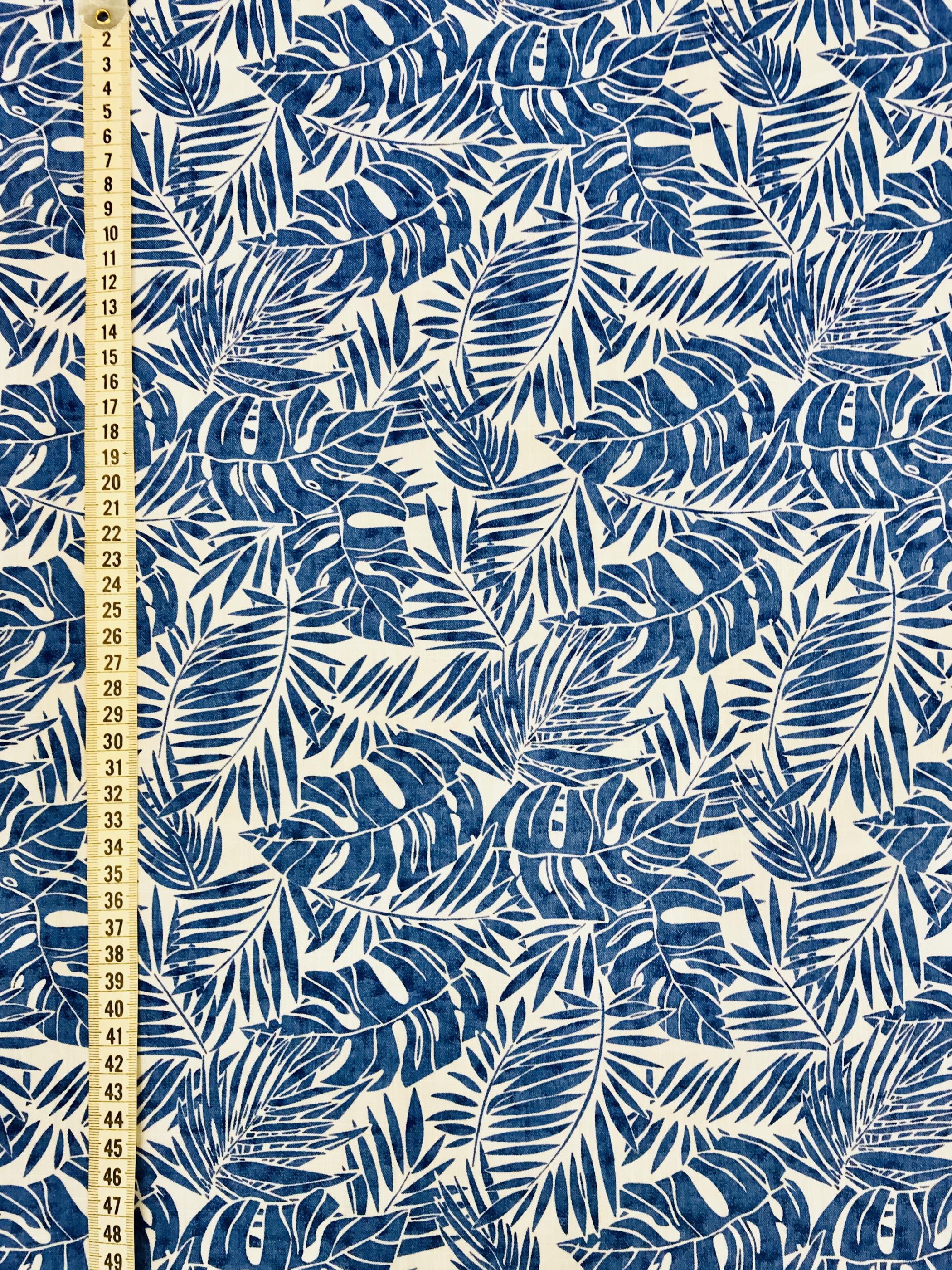 djungelblad blå blad metervara bomull
