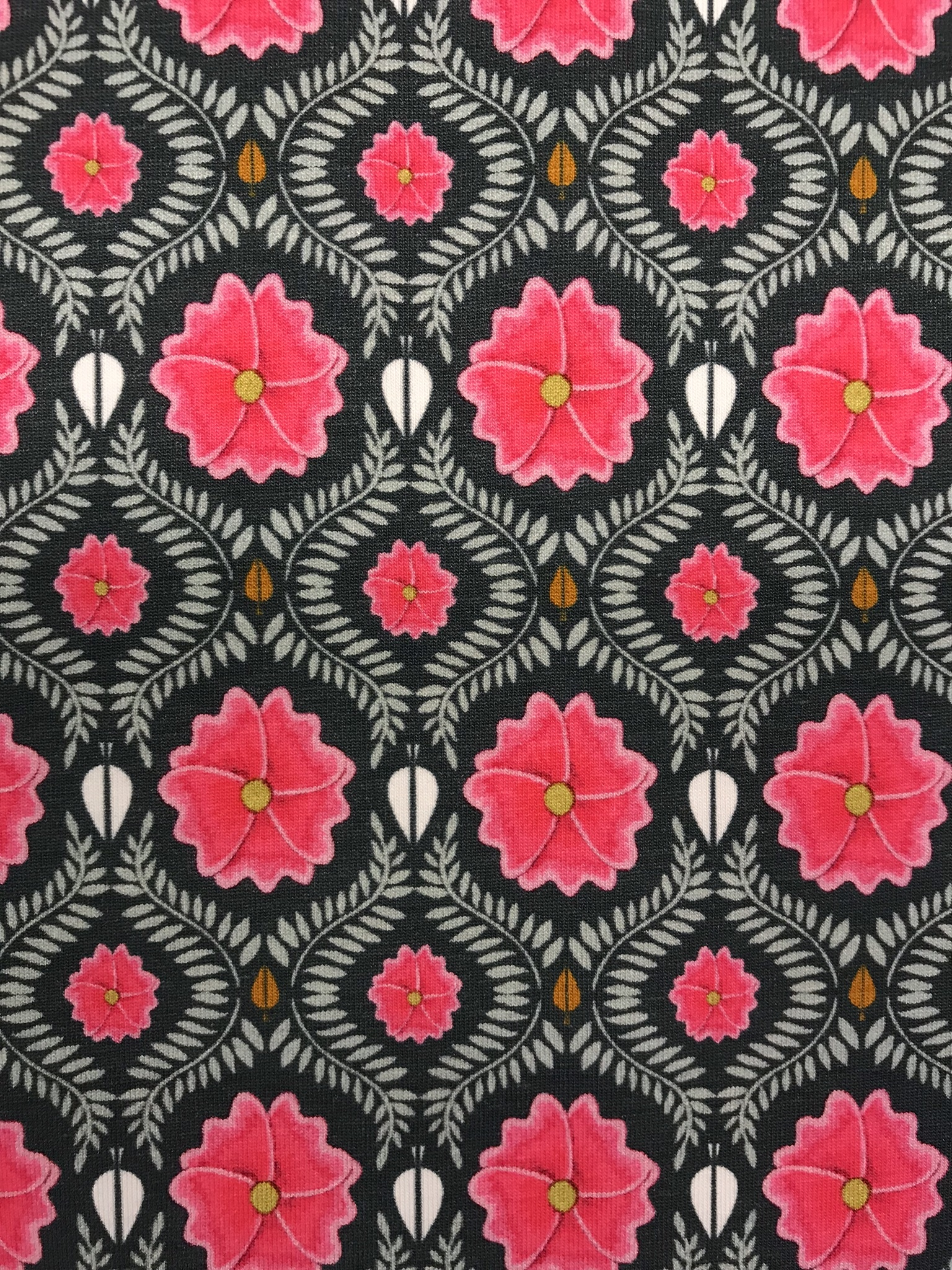 rosa blomma trikåtyg metervara cerise blå tyg