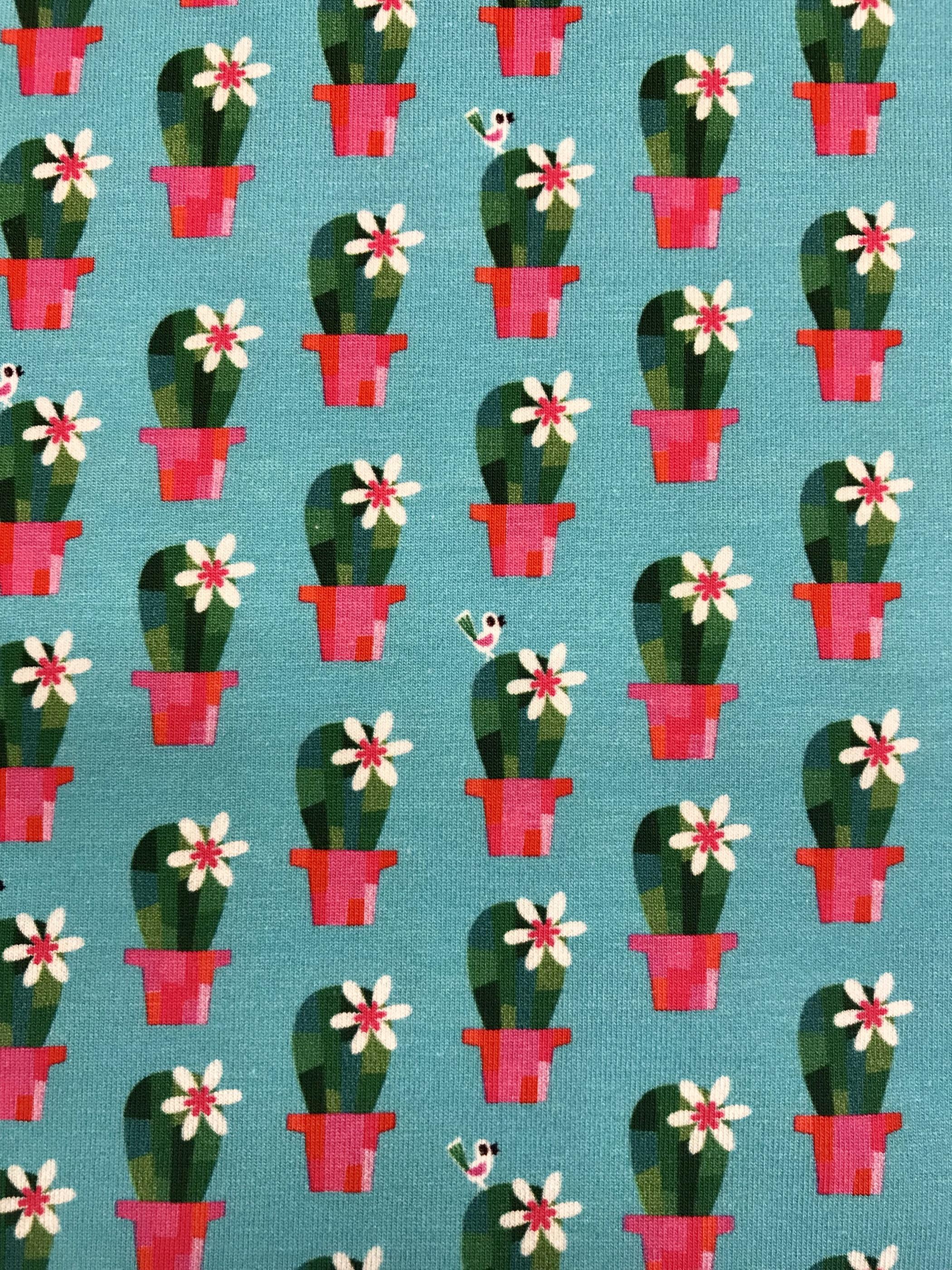 trikåtyg metervara kaktus turkos cerise