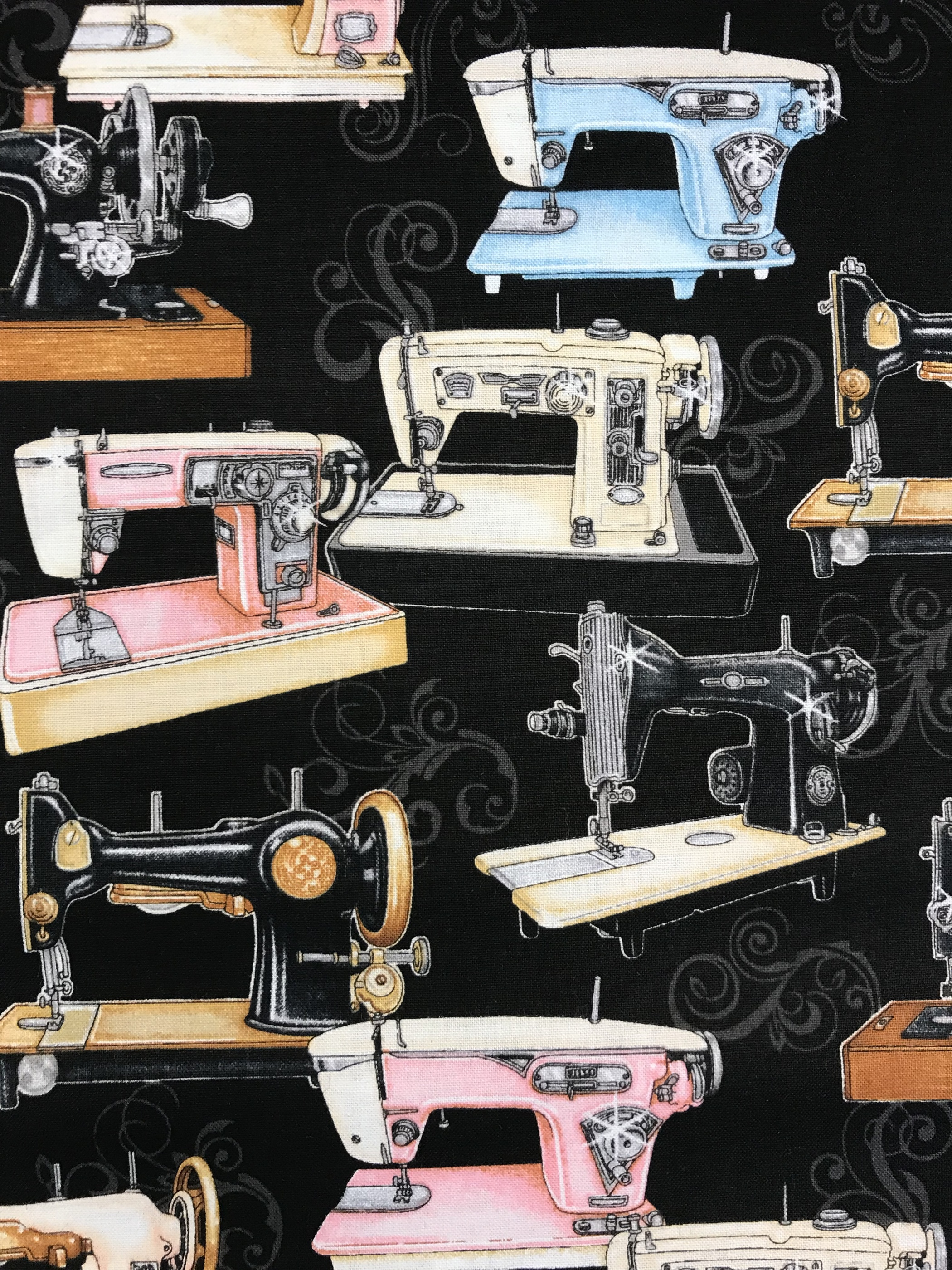 gamla symaskiner retro bomullstyg metervara svart