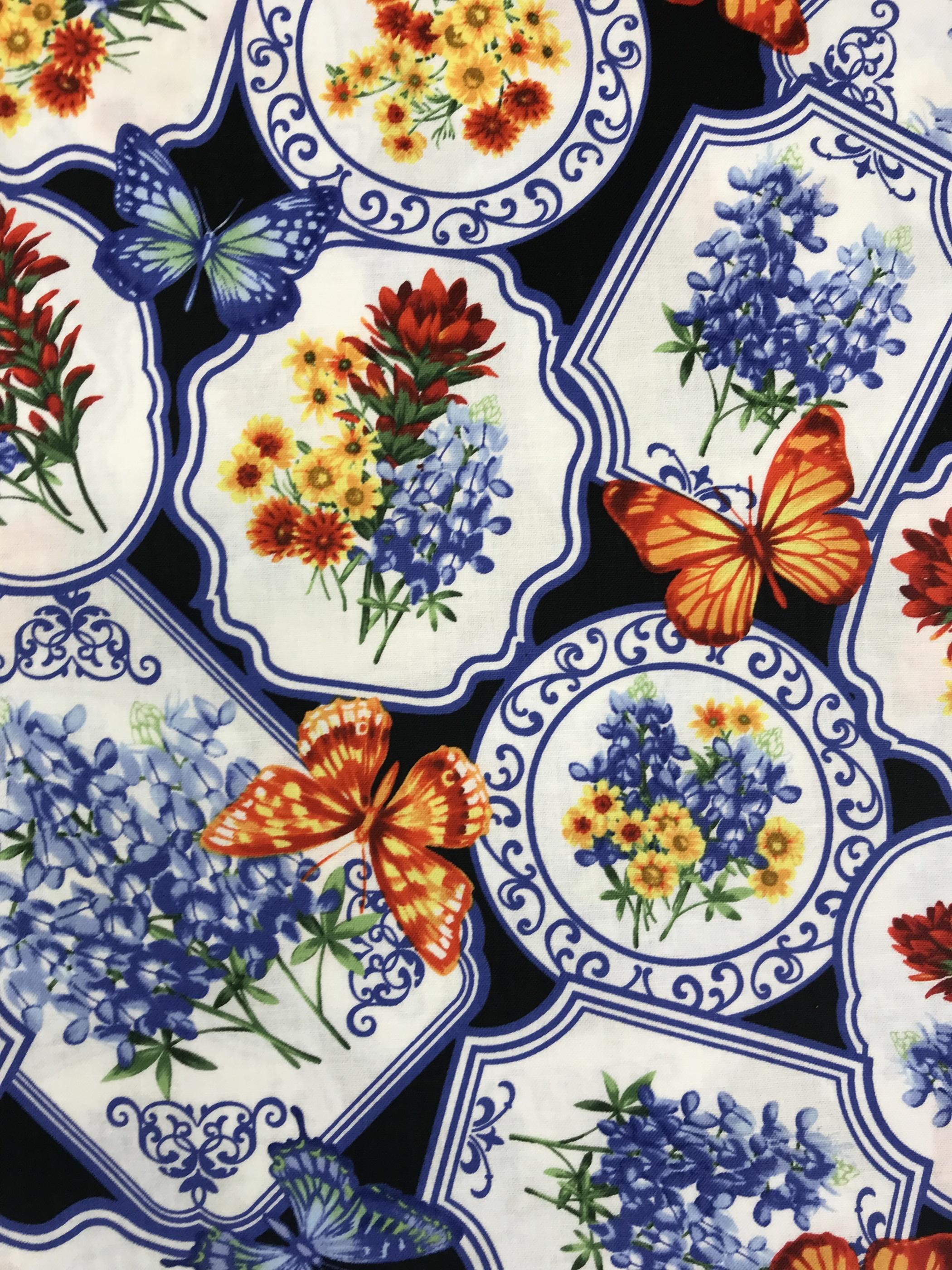 fjäril blomma tyg metervara bomull blå