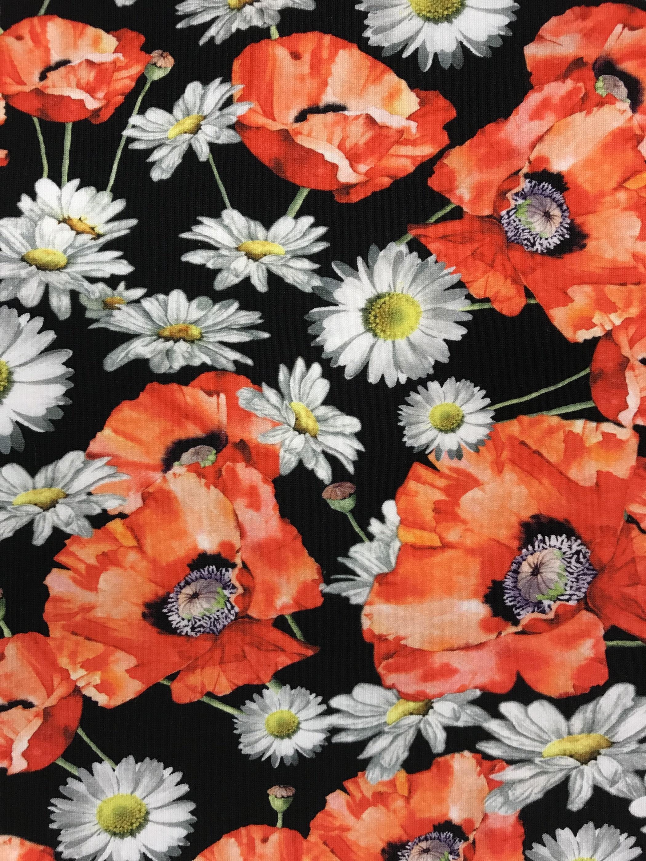 vallmoäng blommor vallmo prästkrage tyg metervara trikåtyg
