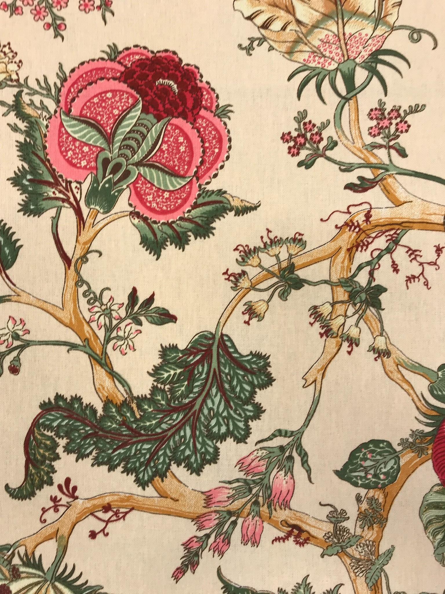 romantik blommor beige metervara bomull hemtextil mode