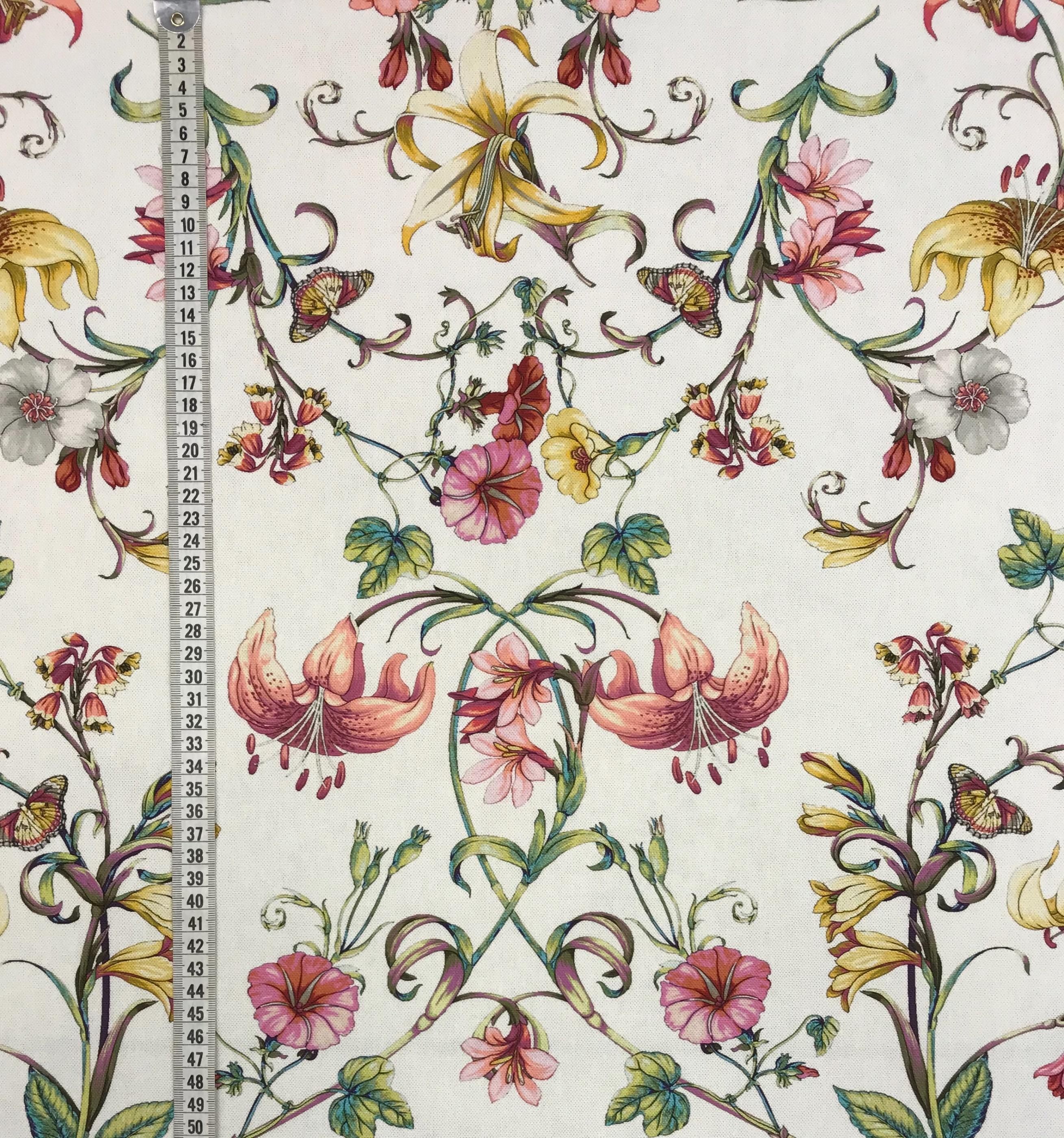franska blommor bomull metervara tyg hemtextil mode
