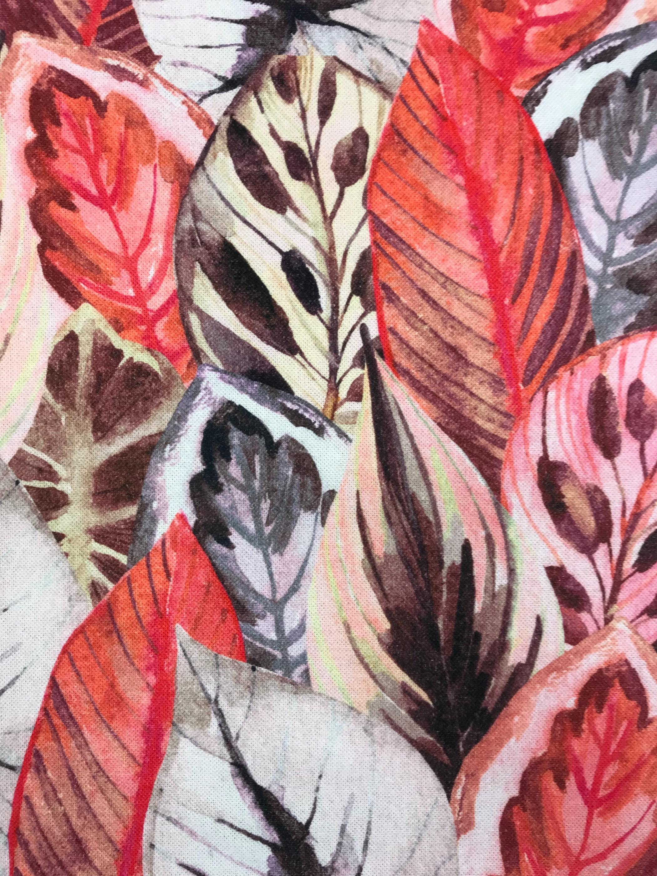 Löv blad metervara bomull hemtextil mode rosa röd brun grå
