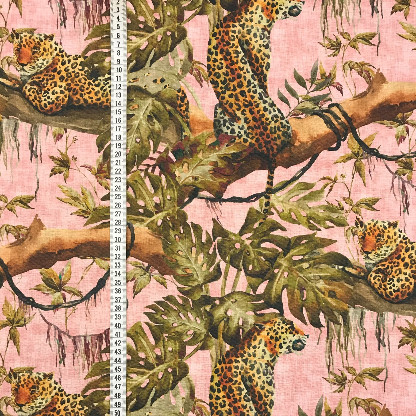 Rosa djungel leopard vävt tyg bomull metervara